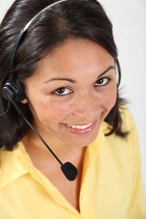Good customer service by girl telephone photo