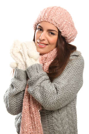 Beautiful happy young woman in winter woollies Stock Photo - 9568403