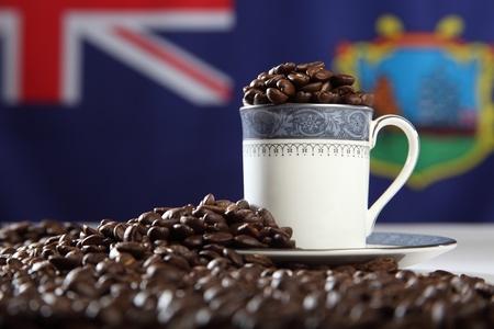 helena: Roasted St Helena Island coffee beans with flag