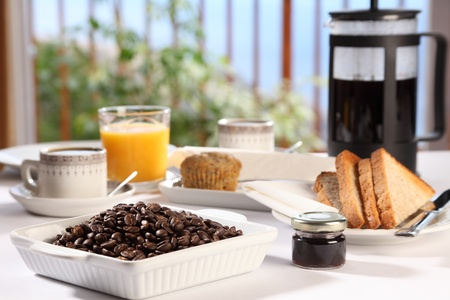 Fresh morning coffee at breakfast Stock Photo - 9869821