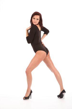 peep toe: Sexy girl long legs wearing heels and leotard Stock Photo