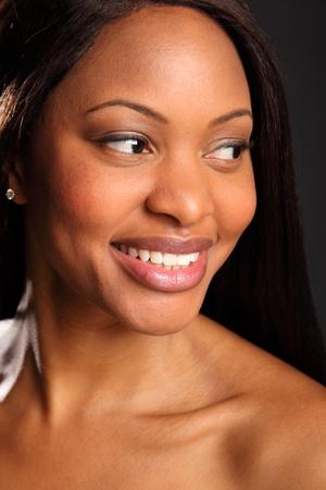Beautiful black woman portrait happy smile photo