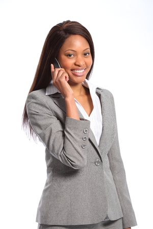 Beautiful african american business woman on telephone photo