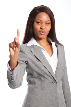 african american woman business: Number one sign from beautiful black woman Stock Photo