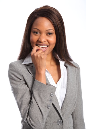 Nervous moment for beautiful black woman Stock Photo - 9642588