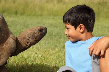 pre adolescent boys: Young school boy playing with a giant tortoise Stock Photo