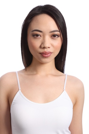 Exotic beautiful young chinese girl wearing white vest, with long straight black hair Stock Photo - 9926249