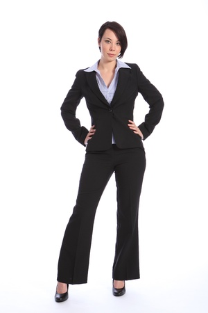 blouse: Full body shot of beautiful young confident business woman, standing with hands on hips and serious expression. Woman is wearing a black business suit and high heels.