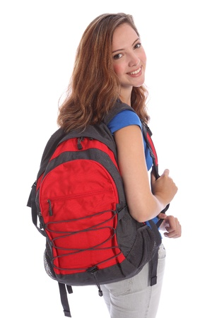 secondary: Beautiful young teenager school girl 16, with long brown hair wearing blue t-shirt and school backpack with big happy smile. Studio shot against white background. Stock Photo