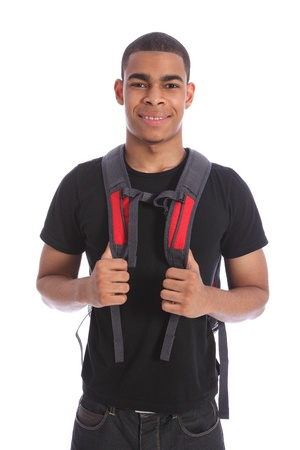 Good looking young black teenage student boy wearing red backpack ready for school with a smile. Shot against white background. Stock Photo - 10382710