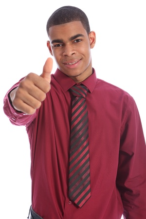 Thumbs up for success from Smartly dressed good looking young African American man with happy smile on his handsome face. Wearing red shirt and necktie. photo