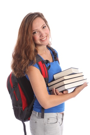 Study time for beautiful high school teenage student girl with education books, with long brown hair wearing blue t-shirt and red school backpack with big happy smile. Studio shot against white background.