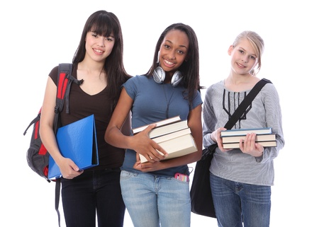 Education time for three multi ethnic teenage student girl friends made up of mixed race african american, oriental Japanese and caucasian with school books. Stock Photo - 10782732
