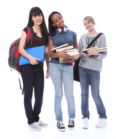 race for time: Education time for three multi ethnic teenage student girl friends made up of mixed race african american, oriental Japanese and caucasian with school books. Stock Photo