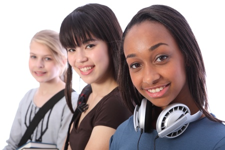 oriental girl: Beautiful young African American student girl with two other multi ethnic teenage friends, an oriental Japanese and blonde caucasian girl, all with happy smiles. Stock Photo