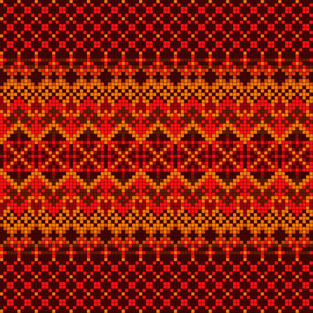 Ornamental seamless pattern. Ethnic ornament. Fabric pattern with red shade.