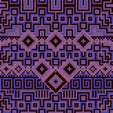 crisscross: Ornamental seamless pattern. Ethnic ornament. Fabric pattern with violet shade.