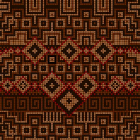 Ornamental seamless pattern. Ethnic ornament. Fabric pattern with brown shade. Illustration