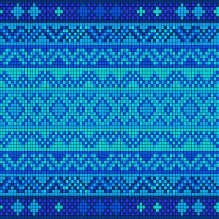 punto de cruz: Modelo inconsútil ornamental. ornamento étnico. Modelo de la tela con la cortina azul. Vectores