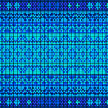 crisscross: Ornamental seamless pattern. Ethnic ornament. Fabric pattern with blue shade. Illustration