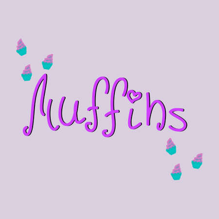 muffins: Stylish typographic poster with inscription muffins. Pixel muffins