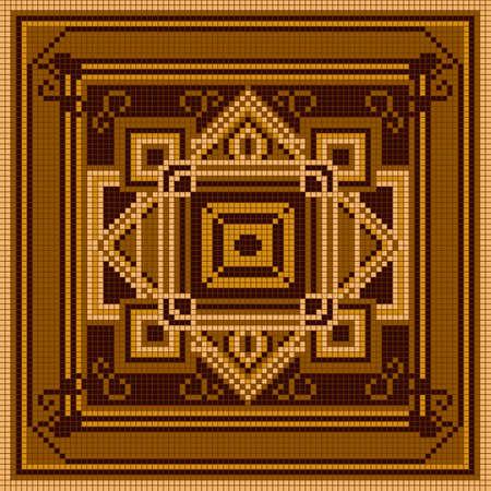 punto de cruz: modelo ornamental marrón. ornamento étnico. Vectores