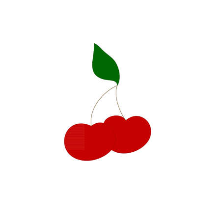 summer diet: Cherry icon. Red sweet cherry on the white background