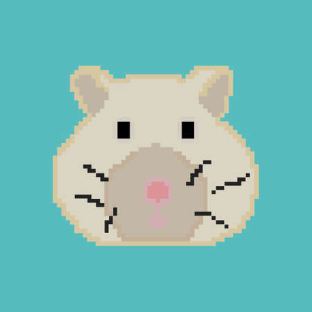 Pixel hamster on a blue background. Illustration