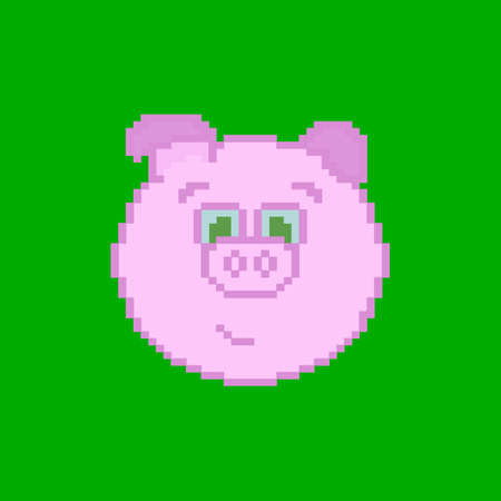 Pixel pig. Green background