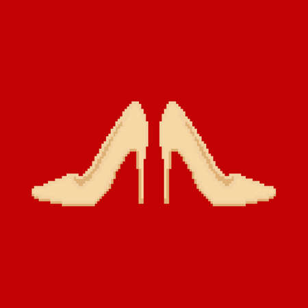 high heels: Pixel art illustration with modern shoes on high heels.