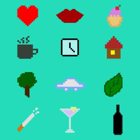 Pixel art. Icon set
