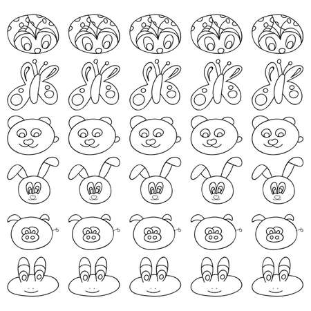 part frog: Shildrens patterns in black and white. Page for coloring book with animals