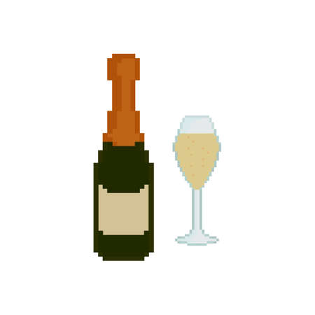 romanticism: Pixel icon. Glass of champagne. Champagne bottle Illustration