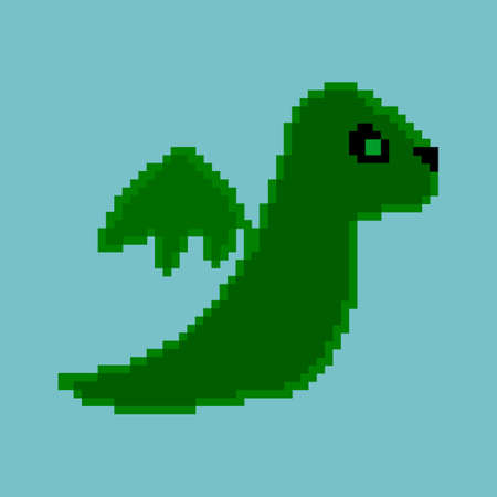 fearsome: Pixel dinosaur on the blue background.