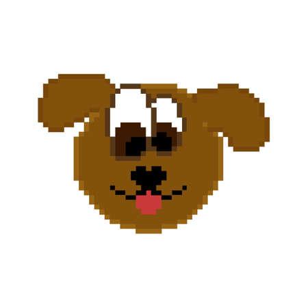 Pixel icône animal. Le chien sur un fond blanc.