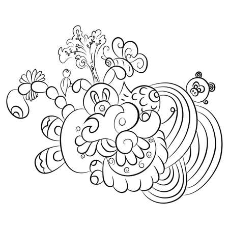 part frog: Patterns in black and white. Page for coloring book Illustration