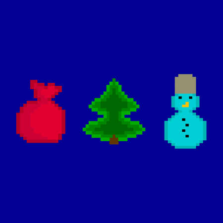 New Years pixel set. Gifts, snowman, fir-tree Illustration