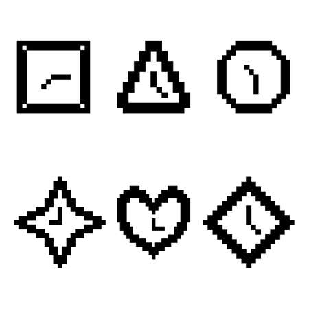 Set from clock. Clock in geometrical figures. Pixel, black and white color