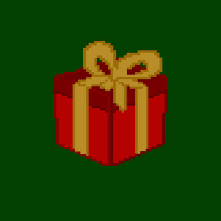Pixel art. A red gift box on a green background.