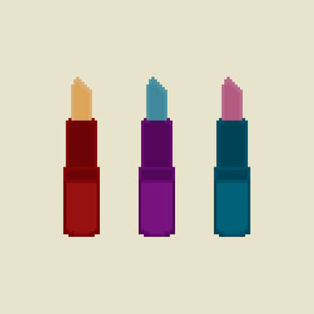 Pixel lipstick. Makeup and Beauty.