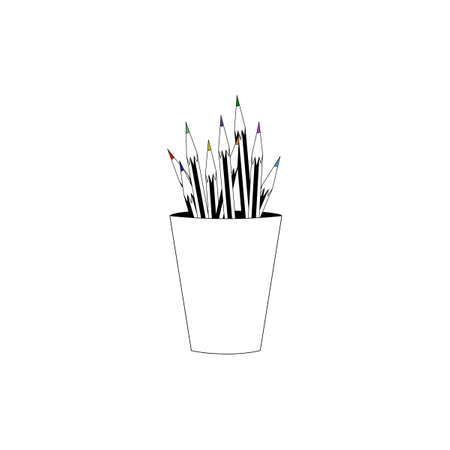 Stylish Colorful Pencil. Pencil in cup. White background