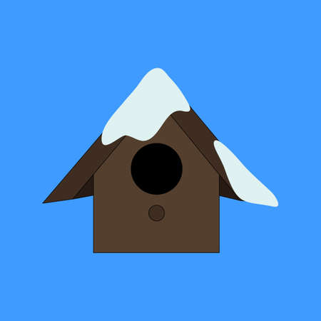 Starling house icon. Winter birdhouse on blue background