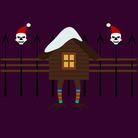 House of forest witch on chicken legs. New year icon. Halloween theme