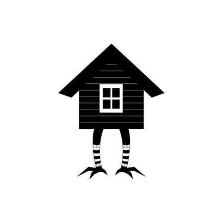 House of forest witch on chicken legs. Black and white icon Illusztráció