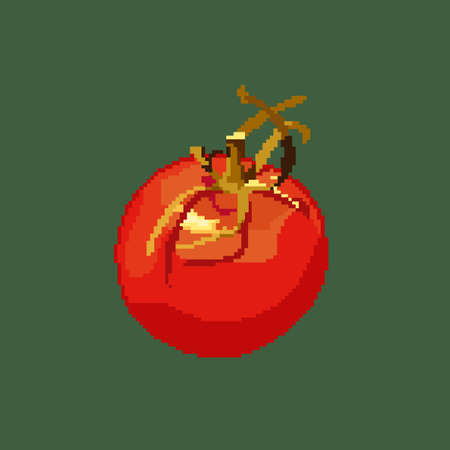 Pixel tomato. Vector tomato icon. Pixel icon on green background