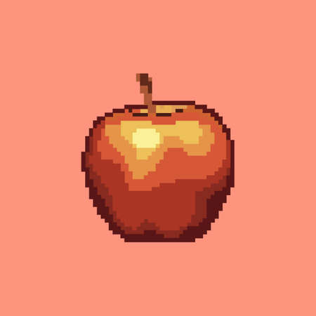Pixel apple icon. Beautiful vector fruit on red background