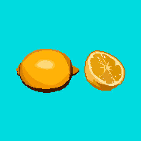 Pixel lemon icon. Vector citrus fruit on blue background.