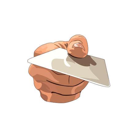 Main tenant la carte de crédit. Illustration vectorielle sur fond blanc.
