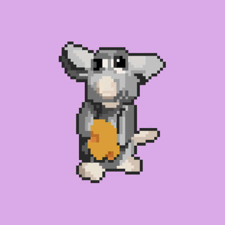Pixel rat with cheese. Vector illustration art. Mouse on pink background.