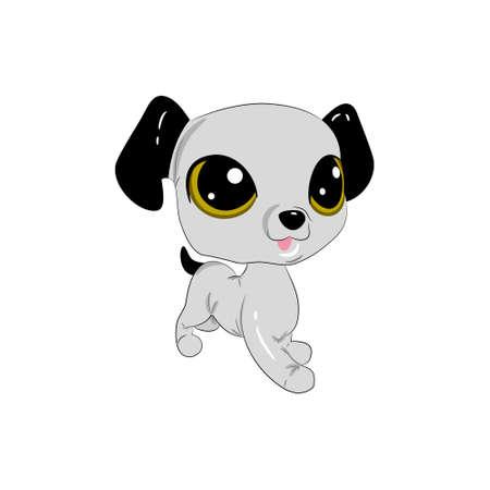 Cartoon dog. Beautiful puppy with big eyes.